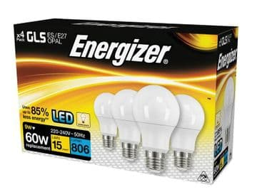 LED ES (E27) Opal GLS Non-Dimmable Bulb, Warm White 806 lm 9.2W (Pack 4)